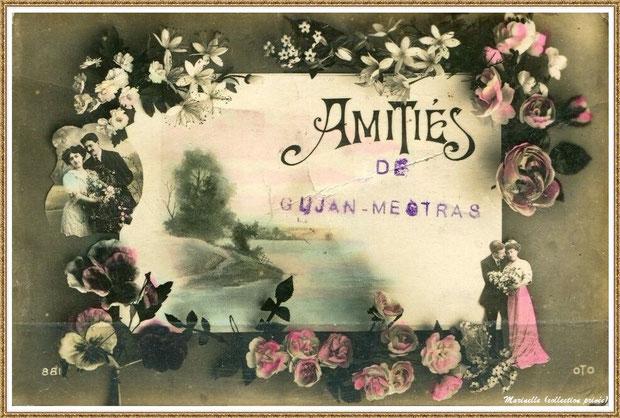 """Gujan-Mestras autrefois : Carte postale """"Amitiés de Gujan-Mestras"""", Bassin d'Arcachon (carte postale, collection privée)"""