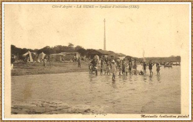 Gujan-Mestras autrefois : La Hume, bord de plage, Bassin d'Arcachon (carte postale, collection privée)