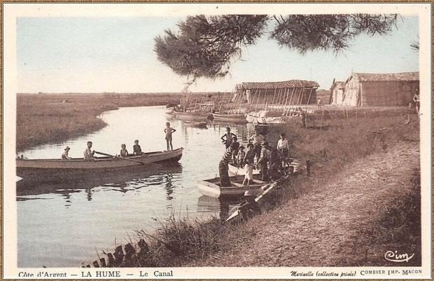 Gujan-Mestras autrefois : Port de La Hume, cabanes de parqueurs, et canal, Bassin d'Arcachon (carte postale, collection privée)
