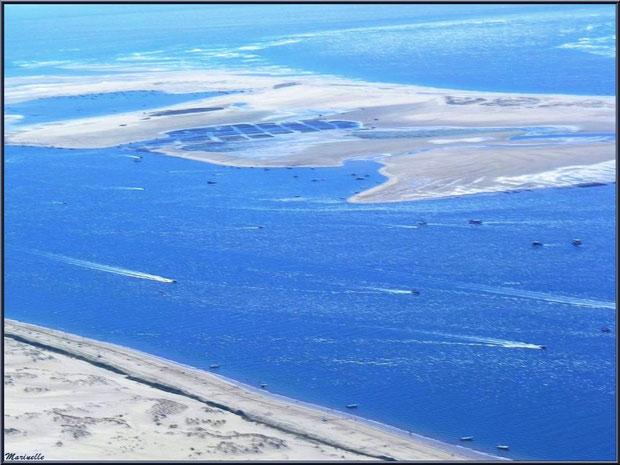 La Dune du Pyla et le Banc d'Arguin et ses parcs à huîtres, Bassin d'Arcachon (33) vu du ciel
