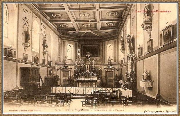 Carte postale ancienne - Intérieur de l'église Sainte Trinité, village des Eaux-Chaudes, Vallée d'Ossau (64)