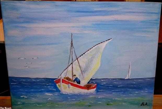 """JLA Artiste Peintre - """"Pinassotte revenant de la pêche"""" 054 - Peinture sur toile (2ème version)"""