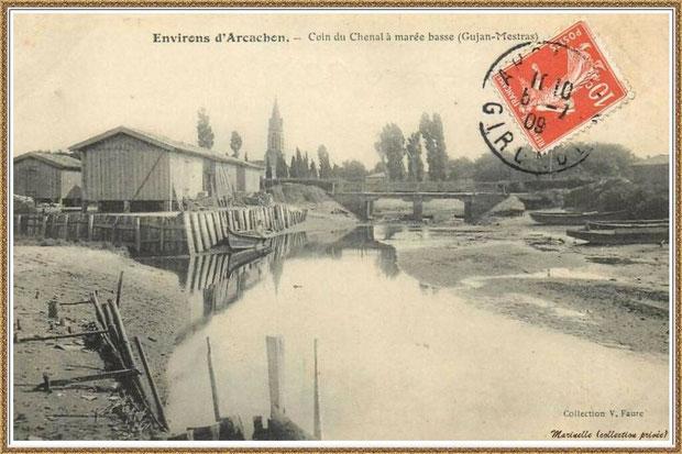 Gujan-Mestras autrefois : en 1909, le chenal du Port de Gujan (ex Port de la Passerelle) à marée basse, Bassin d'Arcachon (carte postale, collection privée)