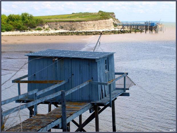 Un carrelet à ponton en bord de la Gironde à Talmont-sur-Gironde (Charente-Maritime) avec en face les falaises du Caillaud et ses carrelets