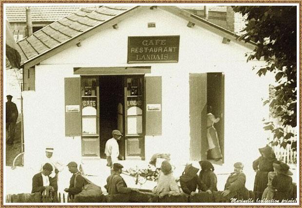 """Gujan-Mestras autrefois : le café-restaurant """"Café Landais"""" à côté du Syndicat des Marins (Rue des Entrepôts puis Rue de l'Yser) , Bassin d'Arcachon (carte postale, collection privée)"""