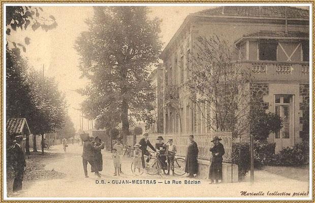 Gujan-Mestras autrefois : vers 1930, Rue du Dr Bézian et sa maison (au premier plan à droite), Bassin d'Arcachon (carte postale, collection privée)