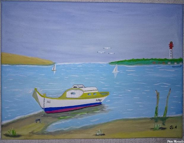 """JLA Artiste Peintre - """"Pinasse Lady et voiliers au large du Cap Ferret"""" 027b - Peinture sur toile"""