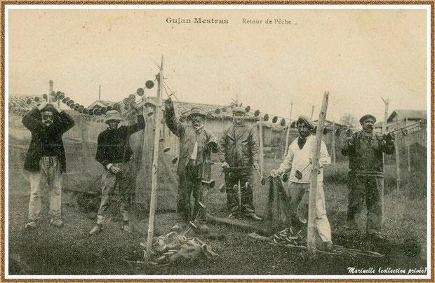 Pêcheurs et leur filet au retour de la pêche à la sardine, Bassin d'Arcachon (33)