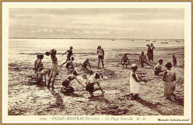 Gujan-Mestras autrefois : Jeux de plage, Bassin d'Arcachon (carte postale, collection privée)
