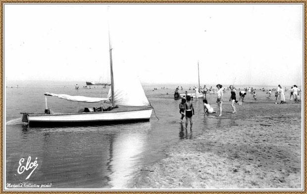 Gujan-Mestras autrefois : la plage de La Hume, pinassottes, baignade, Bassin d'Arcachon (carte postale, collection privée)