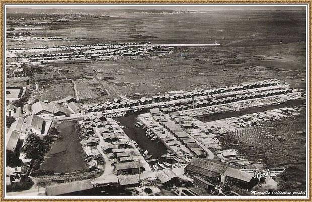 Gujan-Mestras autrefois : Vue aérienne du Port du Canal (avec en fond le Port de Larros et la Jetée du Christ), Bassin d'Arcachon (carte postale, collection privée)