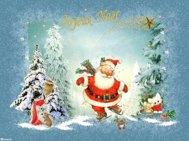 Joyeux Noël, Père Noël en patins à glace