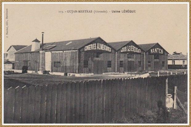 Gujan-Mestras autrefois : l'Usine-Conserverie Lévesque, Bassin d'Arcachon (carte postale, collection privée)