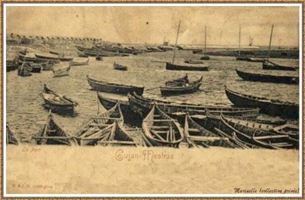 Gujan-Mestras autrefois : Darse principale du Port de Larros avec pinassottes et pinasses à voile ainsi que Jetée du Christ à l'horizon, Bassin d'Arcachon (carte postale, collection privée)