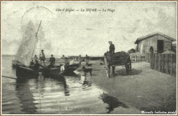 Gujan-Mestras autrefois : Plage, cabanes et pêcheurs au Port de La Hume, Bassin d'Arcachon (carte postale, collection privée)