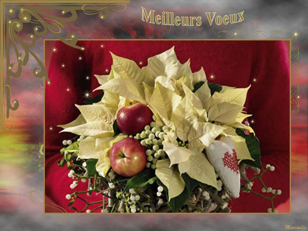 Meilleurs voeux : bouquet avec fleurs, fruits, gui et coeur tissu