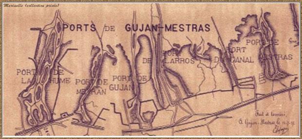 Plan des Ports de Gujan-Mestras en 1937 (dessiné par E. Lapeyre), Bassin d'Arcachon