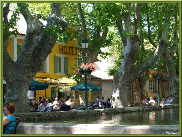 L'étang (plan d'eau) au coeur du village de Cucuron avec ses terrasses ombragées et cafés restaurants, Lubéron (84)