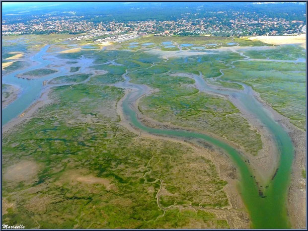 Le Bassin à marée basse, ses chenaux, Gujan Mestras avec sa plage de La Hume et son port de Meyran , Bassin d'Arcachon (33) vu du ciel