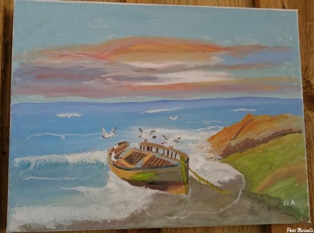 """JLA Artiste Peintre - """"Canot échoué en bord de mer et vol de mouettes"""" 026 - Peinture sur toile"""