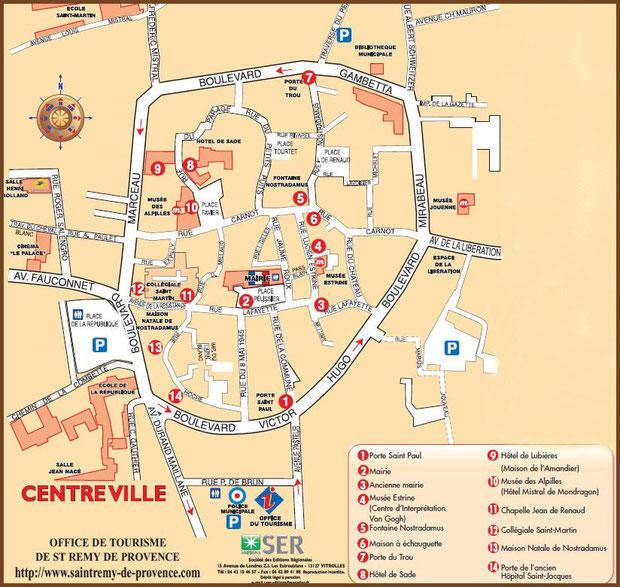 Plan touristique du centre ville de Saint Rémy de Provence, Alpilles (13) - plan agrandissable en cliquant dessus
