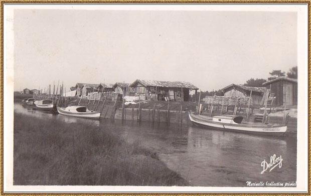 Gujan-Mestras autrefois : Port de La Hume, cabanes de parqueurs et pinasses, Bassin d'Arcachon (carte postale, collection privée)