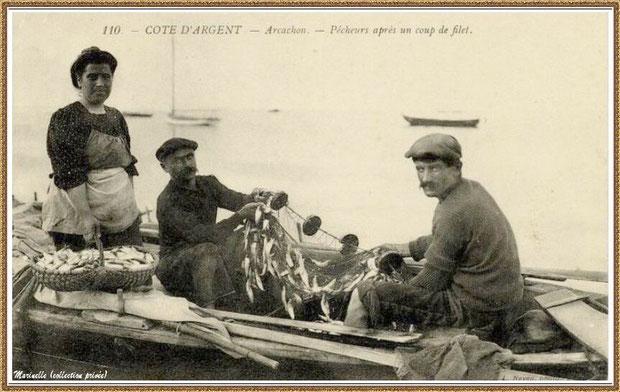 Pêcheurs de sardines après un coup de filet, Bassin d'Arcachon (33)