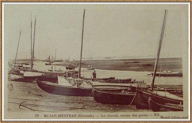 Gujan-Mestras autrefois : Pinasses à voile et retour des parcs, darse principale du Port de Larros, Bassin d'Arcachon (carte postale, collection privée)