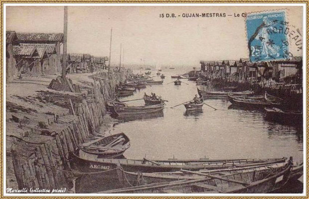 Gujan-Mestras autrefois : Port du Canal en 1926, Bassin d'Arcachon (carte postale, collection privée)
