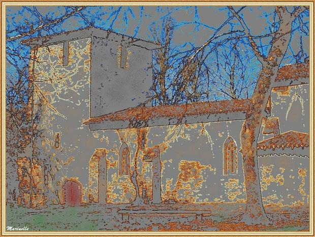 Quand la souris devient pinceau ou crayon : Eglise St Michel du Vieux Lugo à Lugos (Gironde) : façade Sud, l'entrée et le clocher