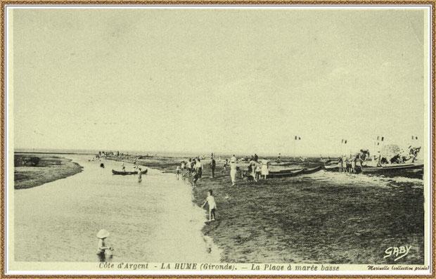 Gujan-Mestras autrefois : la plage de La Hume à marée basse, Bassin d'Arcachon (carte postale, collection privée)