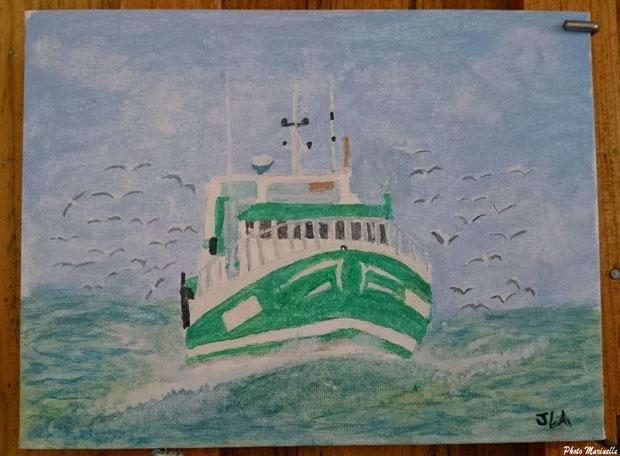 """JLA Artiste Peintre - """"Chalutier Danièle-Marie rentrant au Grau-du-Roi en 2012"""" 022 - Peinture sur toile"""