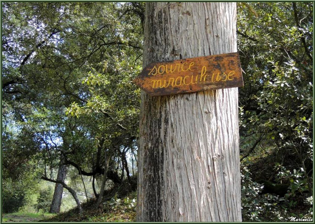 Panneau indiquant le chemin vers la source miraculeuse de l'Ermitage Saint Gens, village de Le Beaucet, Lubéron (84)