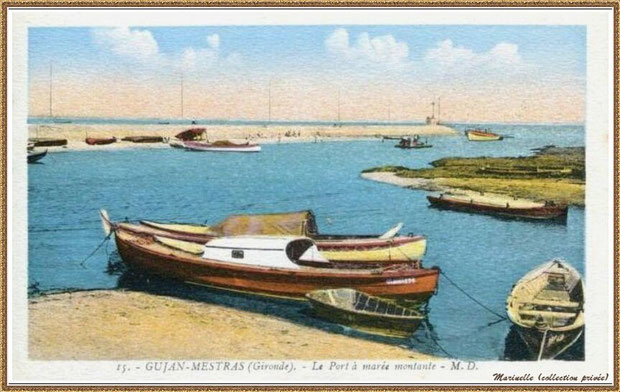 Gujan-Mestras autrefois : rencontre entre darses principale et secondaire du Port de Larros (avec la Jetée du Christ), Bassin d'Arcachon (carte postale - version colorisée, collection privée)