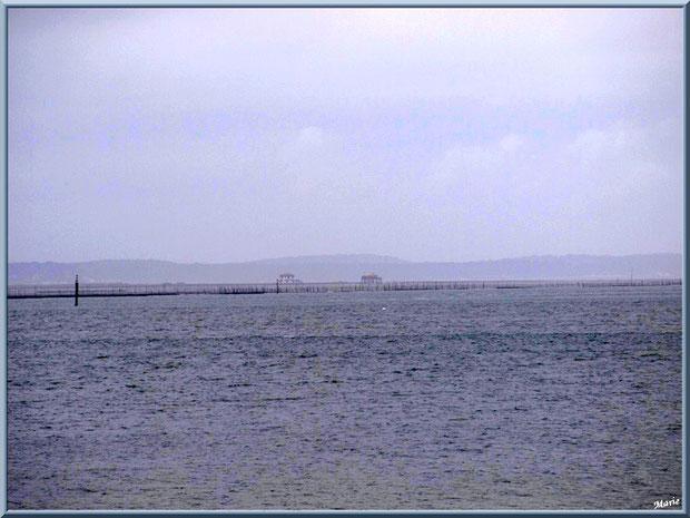 """Arcachon, """"Ville d'Automne"""", le Bassin et les cabanes tanchquées de l'Ile aux Oiseaux à l'horizon vues depuis la plage, Bassin d'Arcachon"""