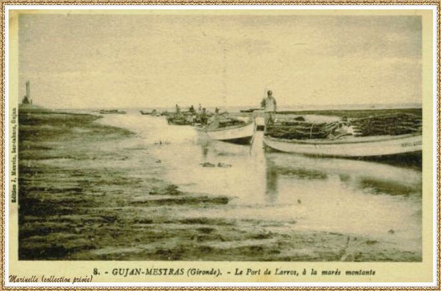Gujan-Mestras autrefois : Retour des parcs à huîtres des pinasses et pinassottes au Port de Larros, Bassin d'Arcachon (carte postale, collection privée)