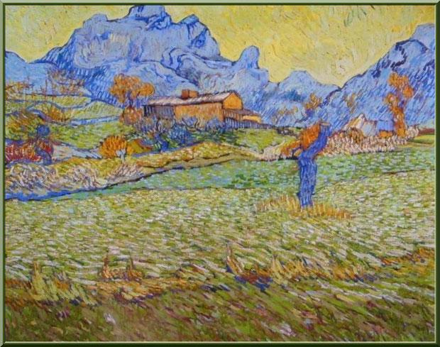 """Tableau """"Paysage à Saint Rémy"""" (1889) de Van Gogh dans le jardin du monastère de Saint Paul de Mausole à Saint Rémy de Provence (Alpilles - 13)"""