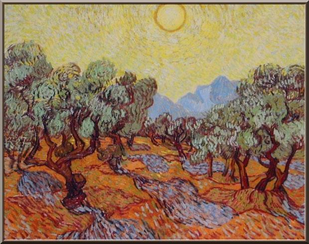 """Tableau """"Les oliviers"""" de Van Gogh dans le jardin du monastère de Saint Paul de Mausole à Saint Rémy de Provence (Alpilles - 13)"""