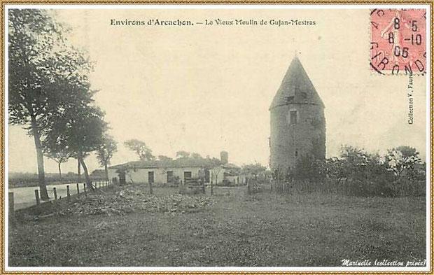 """Gujan-Mestras autrefois : en 1906, le """"Moulin du Frère Jean"""" dit """"Chaouchoun"""", Bassin d'Arcachon (carte postale, collection privée)"""