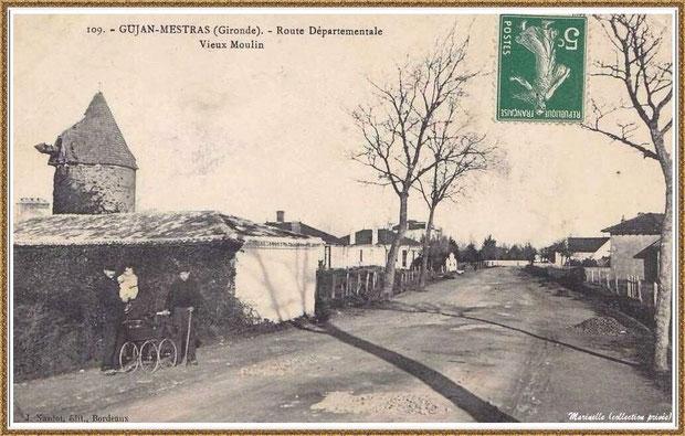 """Gujan-Mestras autrefois : le """"Moulin du Frère Jean"""" dit """"Chaouchoun"""" avec hommes, bébé et landau de l'époque, Bassin d'Arcachon (carte postale, collection privée)"""