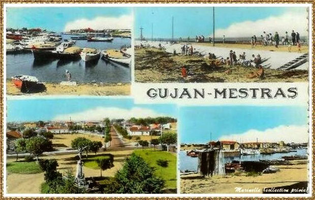 Gujan-Mestras autrefois : Carte postale multivues, Bassin d'Arcachon (carte postale, collection privée)