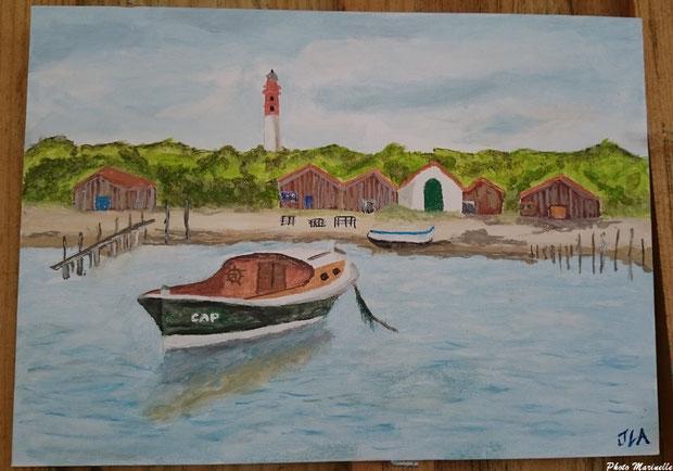 """JLA Artiste Peintre - """"Pinasse Cap au large du Cap Ferret"""" 006 - Peinture sur toile (Bassin d'Arcachon)"""