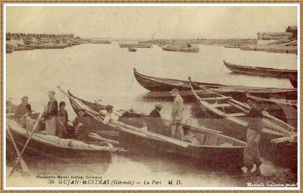 Gujan-Mestras autrefois : Pinassottes dans la darse principale du Port de Larros, Bassin d'Arcachon (carte postale, collection privée)
