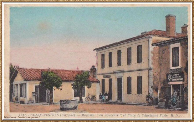 Gujan-Mestras autrefois : ancienne Rue Carrère Daney (devenue Rue Jules Barat) ici à l' angle(de nos jours) de la rue Jules Barat et de l'Impasse Gambetta, Bassin d'Arcachon (carte postale, collection privée) - autre vue et colorisée