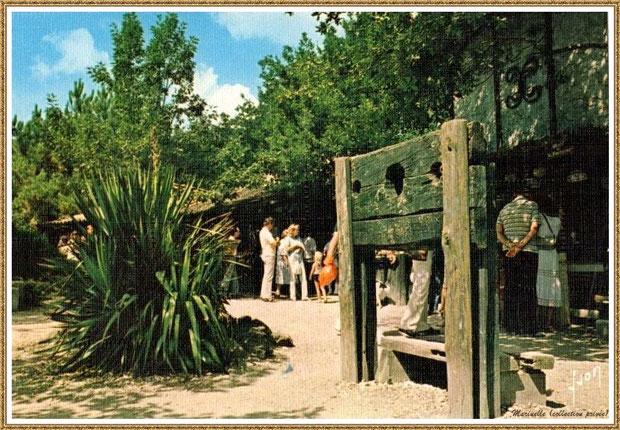 Gujan-Mestras autrefois : Intrument de tortue, Place de la Fontaine au Village Médiéval d'Artisanat d'Art de La Hume, Bassin d'Arcachon (carte postale, collection privée)