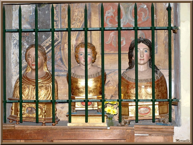 Eglise Notre Dame de Beaulieu, village de Cucuron, Lubéron (84) : bustes reliquaires avec, au centre, Saint Cyr , à droite, Sainte Tulle et, à gauche, Sainte Consorce