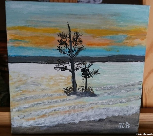 """JLA Artiste Peintre - """"Coucher de soleil en bordure du lac de Cazaux"""" 052 - Peinture sur toile"""