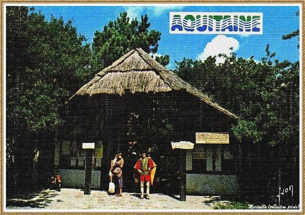 Gujan-Mestras autrefois :  l'entrée du Village Médiéval d'Artisanat d'Art de La Hume, Bassin d'Arcachon (carte postale, collection privée)