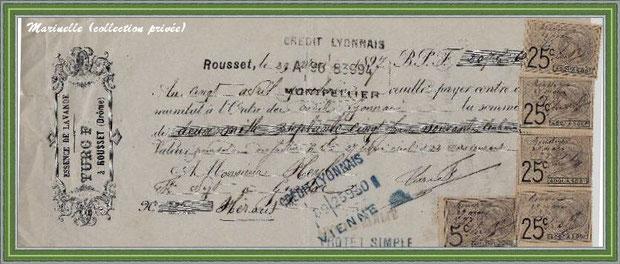 Autrefois... Billet à ordre pour de l'essence lavande datant de 1897 (collection privée)