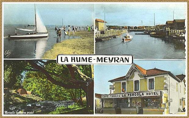 Gujan-Mestras autrefois : Carte postale multivues (quartiers La Hume et Meyran), Bassin d'Arcachon (carte postale, collection privée)